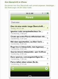 Screenshot: Schreiben im Internet - Interaktive Simulation der Überschriftendarstellung im iPhone