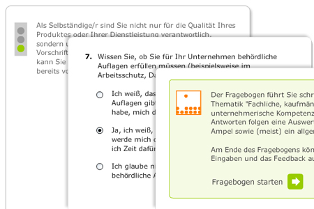 Screenshot: Modul Existenzgründung - Fragebogen