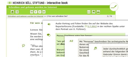 Screenshots: Heinrich Böll Stiftung - interactive book (LCMS inkl. Absatzformatierung)